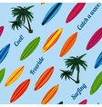 Seamless vacation pattern with surfboards vector