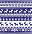 Winter nordic seamless navy blue pattern vector