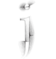 Sketch font letter j vector