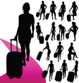Girl with a travel bag silhouette vector