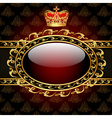 Background with a gold crown and a circle of glass vector