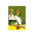 Scientist lab researcher chemist retro vector