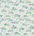 Cute seamless pattern with birds and clouds vector