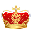 Royal gold crown with ornament and pearls vector