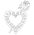 Sketch of rose and heart shaped object vector