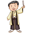 A sketch of a man wearing an asian costume vector