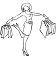 Series shopping joyful woman with purchases vector