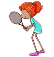 A sketch of a female tennis player vector