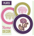 Set of 3 matching decorative plates vector