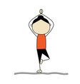 Woman practicing yoga tree pose vector