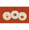 Hanging coffee flat icons badges vector