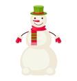 Cartoon snowman mittens isolated vector