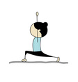 Woman practicing yoga warrior pose vector