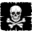 Skull and crossbones over black flag vector