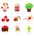 Autumn apple icon set vector