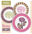 Set of 3 matching decorative plates vector