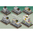 Set of isometric police stations vector