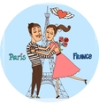 Couple in love with eiffel tower from paris vector