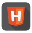 Orange shield html five sign letter h on the vector