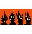 Set of halloween black castle vector