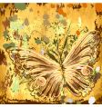 Grunge background with butterflies autumn vector
