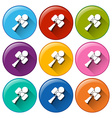 Rounded buttons with toys vector