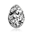 Easter egg white with floral ornament vector