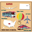 Flat map of kansas vector