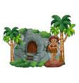 Caveman and cave vector