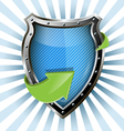 Metallic blue shield vector
