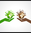 Save nature concept with eco and polluted cityscap vector