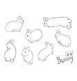 Set of drawing small bunny vector