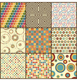 Set of nine retro geometric seamless patterns with vector