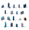 Isometric city center buildings set vector