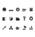 Silhouette car parts and characteristics icons vector