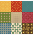 Set of nine retro simple geometric seamless vector