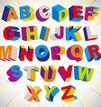 3d font bold psychedelic colorful alphabet vector
