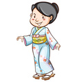 A drawing of a woman wearing an asian dress vector