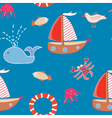 Seamless pattern with boats and sea animals vector