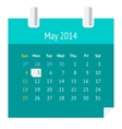 Flat calendar page for may 2014 vector
