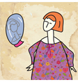Woman and mirror funny card vector