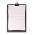 Black clipboard with paper lined vector