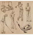 Golf and golfers - hand drawn vector