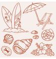 Summer seaside doodles vector
