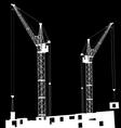 Silhouette cranes vector