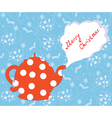 Christmas card with tea pot vector