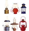 The complete set of old oil lamps vector