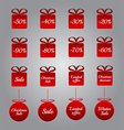 Christmas pricing tags- red gift and bauble shapes vector