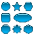 Blue glass buttons set vector