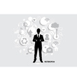 Businessman with cloud of application vector